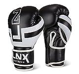 """LNX Boxhandschuhe """"Performance Pro"""" 10 12 14 16 Oz - ideal für Kickboxen Boxen Muay Thai MMA Kampfsport uvm schwarz/weiß (003) 14 Oz"""