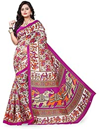 Aaradhya Fashion Women's Bhagalpuri Kalamkari Printed Saree