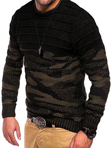 MT Styles Strickpullover Camouflage Pullover E-747 Schwarz