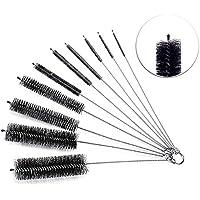 Cepillo de limpieza, Versatek Tubo Cepillo 8 Inch Juego de brochas de nailon con tapa protectora para tubo, pajitas gafas teclados para limpiar las joyas, etc. (10 piezas)