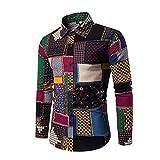 Wenyujh Herren Hemd Freizeithemd Langarm Shirt Bunte Blumenmuster Aufdruck  Casual Große Größen b300584894