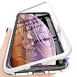 ONLT Coque iPhone XS Max,PC Coque Flip,Blanc Coque d'adsorption magnétique,Couverture arrière en Verre trempé, Antichoc, antidérapant, Anti-Rayures