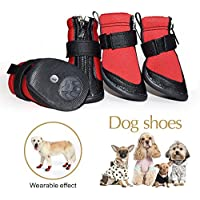 Creatwls Zapatos de perro impermeables con correas ajustables, suela antideslizante resistente al agua, botas de perro al aire libre, zapatillas de perro (juego de 4)