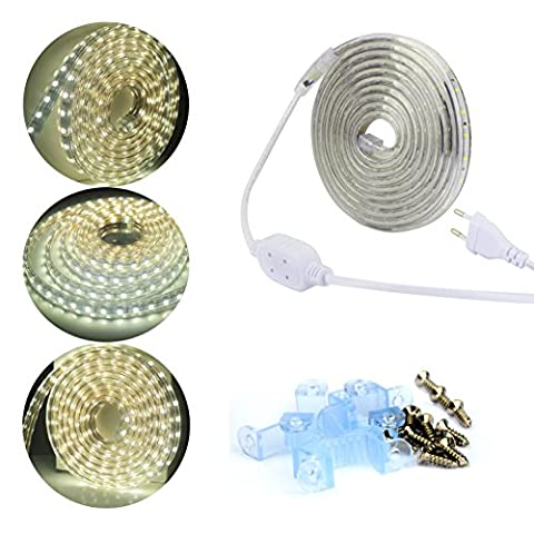 ALED LIGHT SMD 2835 Étanche Ruban LED Bande 3M 220V IP67 Flexible Strip Light Lumineuses Éclairage Lampe 60 leds/m 180 LEDs Au Total Tube lumineux d'extérieur - Utiliser Directement pas Besoin de L'adapteur (Blanc)