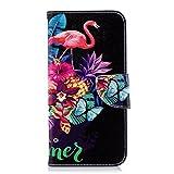 ISAKEN Huawei P Smart Hülle, PU Leder Flip Cover Brieftasche Geldbörse Wallet Case Ledertasche Handyhülle Tasche Schutzhülle Etui mit Standfunktion für Huawei P Smart - Blumen Flamingo