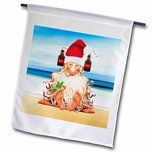 3dRose FL_251764_1 Lustige Bierliebhaber, Weihnachtsmotiv mit Zwerg im Getränkehut, 30,5 x 45,7 cm, Weiß