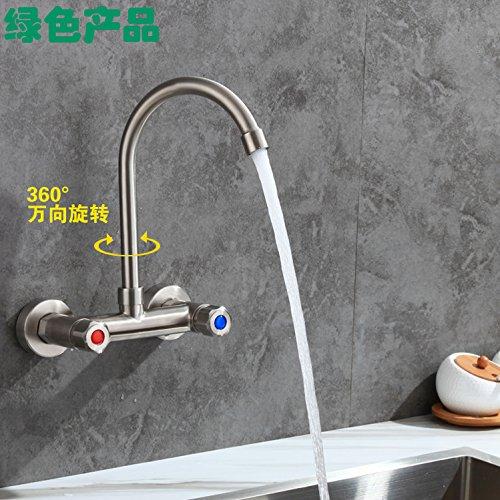 LaLF Europäischer Wasserhahn Doppel-Doppel-Loch Wand-Küchenarmatur modernen 304 Edelstahl heißen und kalten Teller Doppelschalter Spüle Wäschepool großen gekrümmten Abschnitt - Gekrümmten Abschnitt