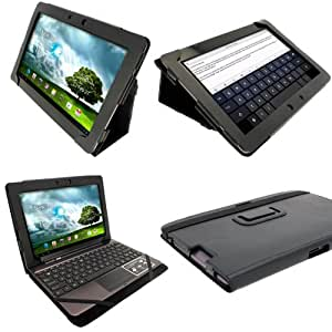 """iGadgitz Black 'Portfolio' PU Leather Case Cover for Asus Transformer Pad & Keyboard Dock TF700 TF700T TF700KL Infinity 10.1"""" Android Tablet (NOT SUITABLE FOR TF701T)"""
