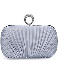 CLOCOLOR Bolso de mano con diamantes cristales cartera de mano para mujer bolso de estilo elegante bolso para fiesta de noche con cadena de metal