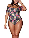 Damen Bikini Tankini Bademode Große Größe Geometrischer Druck Retro Hohe Taille Halfter Monokini Einteiliger Badeanzug Bademode Abgebildet XL
