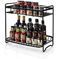 2-Tier Organizador Especias Cocina, WEFLAIR Hierro Desmontable Latas Botellas Organizer Shelf Holder para la cesto organizador cocina& Bathroom Countertop Storage (Black)