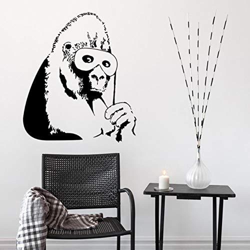 Fushoulu 42X48 CmBanksy Vinyl Wandtattoo Gorilla Schwarze Maske Wandaufkleber Abnehmbare Affe Wandbildwohnkulturschimpanse Design Vinyl Kunst