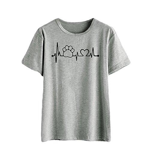 en, Niedliche Mode Muster Shirts Tops Damen Sommer Sexy Pulli Damen Elegant Damen Kurzarm T Shirt Teenager MäDchen Hoodie MäDchen Oberteil Damen Kurzarm-Shirt ()