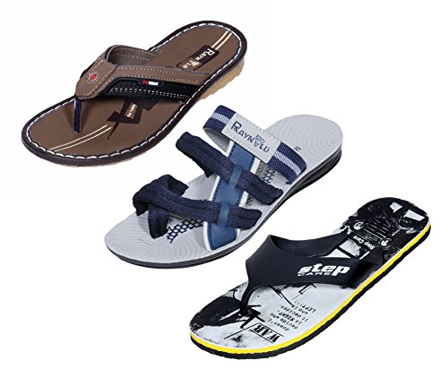 IndiWeaves Men Step Care Comfortable Flip Flop House Slipper And Hawaai Chappal Office Slipper-Grey-8 IND/UK- Pack Of 3 Pairs