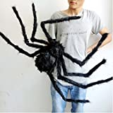 Yantu Spider Halloween Decoration Haunted House Prop Indoor Outdoor (120cm, black)