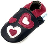 MiniFeet Premium Weiche Leder Babyschuhe, Kleinen Herzen 6-12 Monate