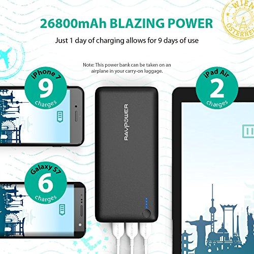 RAVPower 26800mAh Power Bank Portable Charger External Battery Pack 3-Port 5.5A iSmart Output for Mobile Phones, Tablets and More