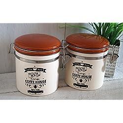 2 x Vorratsdose mit Bügelverschluss Dose Küche Deko Keramik (luftdicht)