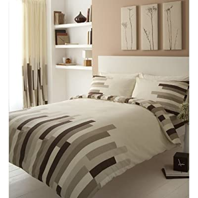 Printed Double Bed Duvet Quilt Cover Bedding Set + Pillowcase Blocks Cream Brown produced by T & A - quick delivery from UK.