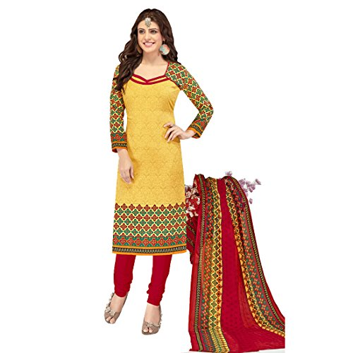 The Style Pure Cotton Bandhani Style Yellow Color Printed Salwar Kameez Dress...