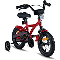 """PROMETHEUS Bicicleta para niño y niña   12 pulgadas   Color rojo y negro   Con ruedas de apoyo   Aluminio Frenos de tiro lateral y freno de contrapedal   A partir de 3 años   12"""" BMX Edition 2018"""