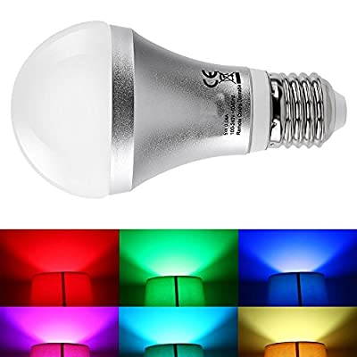 JnDee™ Dimmable RGB 5W E27 (Edison Screw, ES) Colour Changing LED Light Bulb with IR Remote Control , Wall Switch Control + Memory Function