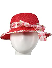 Beunew Kid's & Girl's Bow-Knot Bonnet Round Cap/Hat (Free Size, Red, Cap-11)