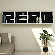 Bravo Read Letter Wall Shelf, White - 49 cm x 197 cm x 22 cm