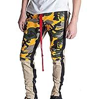 Pantalón Chandal Hombre Deportivos Coincidencia de Colores Pantalón de pie Pantalones Casual de Camuflaje para Hombre Costura Rayas Cremallera con Pantalones MMUJERY