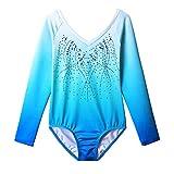 ZNYUNE Fille Justaucorps Gymnastique Danse Bleu Dégradé Manches Longues B146 NO.12A...