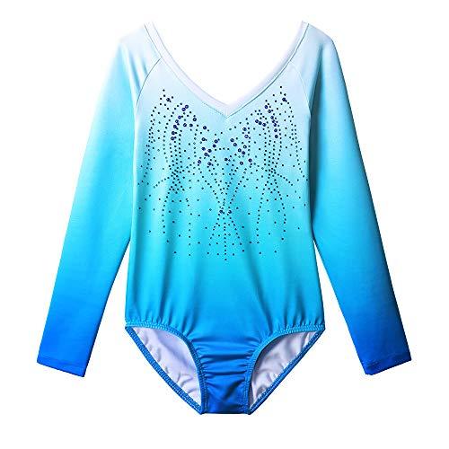 ZNYUNE Mädchen Kinder Turnanzug Gymnastikanzug Trikot Leotard Wettkampf Gymnastikbody Turnbody Blau 7 8 Jahre -