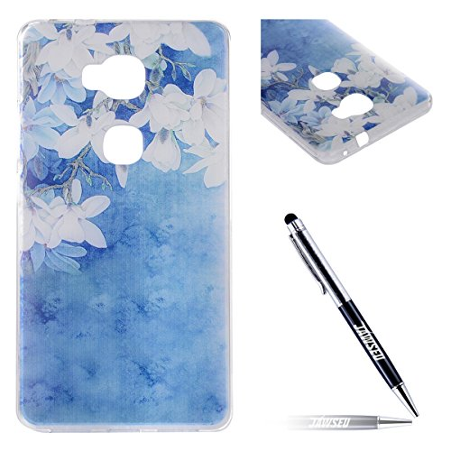 JAWSEU Coque Etui pour Huawei Honor 5C,Huawei Honor 5C Coque en Silicone Transparent,Huawei Honor 5C Silicone Coque Cristal Clair Etui Housse,Huawei Honor 5C Soft Case Gel Protective Cover,Ultra Mince Blanc Fleur