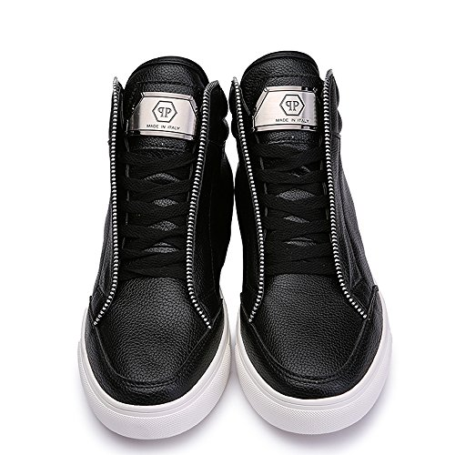 SITAILE Homme Noir Blanc Classiques Lacets Sneakers Hautes Baskets Mode Chukka Bottes et boots Noir