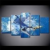 Tkuri Toile Photos Mur Art HD Imprimer 5 Pièces Saut Marlin Thon Poisson Peinture Sailfish Affiche De Pêche Salon Décor sans Cadre - T3 Non Encadré