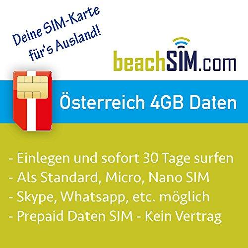 Preisvergleich Produktbild Prepaid Daten Sim Karte (mobiles Internet) für Österreich mit 4 GB Guthaben