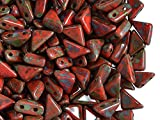 24pcs Tango Bead - Czech Pressed Glass Beads in the form of a triangle with sides 6x6x8mm, two holes, Opaque Orange Travertine