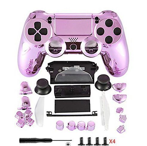Canamite® Case Hülle Gehäuse Chrome Modding Cover Shell für Playstation PS4 DualShock 4 Controller (Rosa) Sony Faceplate Case