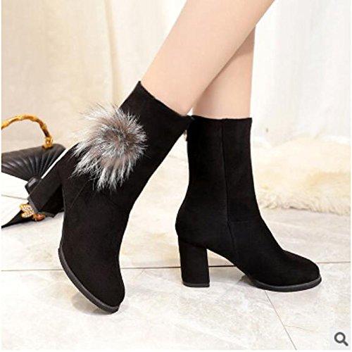 HSXZ Scarpe donna pu Autunno Inverno Comfort stivali Chunky tallone punta tonda Babbucce/stivaletti di abbigliamento casual Nero Grigio Gray