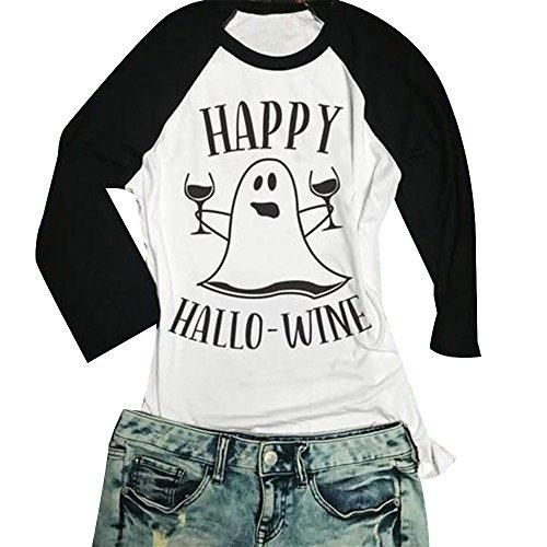 in Halloween Tages Frauen Casual Glücklicher Hallowine Geist Baseball T Shirt 3/4 Sleeve Brief Printed Top (Kürbis Glückliche Gesichter)