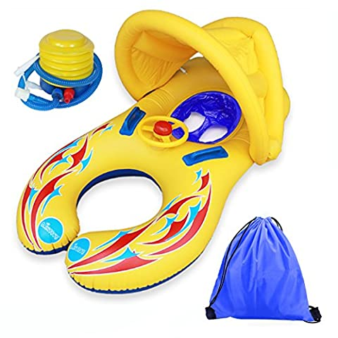 Baby Pool Float, Inflatable Safe Mother Baby Swim Ring with Canopy, Air Pump, Sound Wheel Toy, Safe Handhold, Storage Bag, Double Seat Boat for 6-36 Months Baby/Toddles