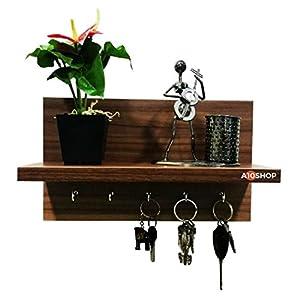 A10Shop Omega 6 (Walnut) Wall Mounted Decor Shelf With Key Hooks