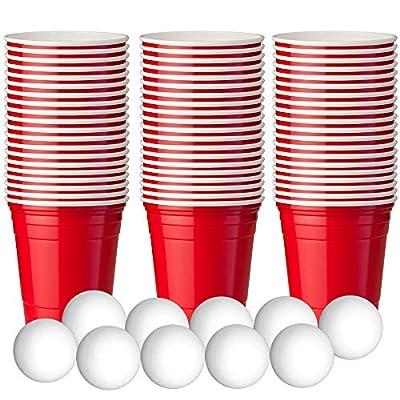 180 Mini Gobelets à Shots Rouges en Plastique - Beer Pong Party Cups American - gobelet rouge plastique - avec plus de 10 mini-balles de bière pong - Jetables et Réutilisables - Verres à Liqueur en Plastique Solides - Idéal pour Les Fêtes, Jeux, Célébrati