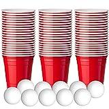 180 Kleine Rote Plastikbecher, Schussgröße (60ml) +10 Kleine Beer Pong Bälle! - Extra Starke, American Schnapsglas - Wiederverwendbar, Einweg Rote Partybecher für Shots Partys Bier Pong Neujahr