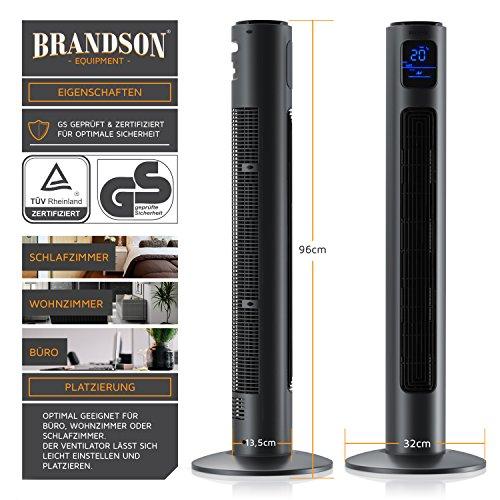 BRANDSON – Turmventilator mit Fernbedienung und Oszilation | Oscillating Tower Fan | 96 cm | 45W | Ventilator mit 3 Geschwindigkeitsstufen Timer 3 Betriebsmodi 60° oszillierend | Cool Grey kaufen  Bild 1*