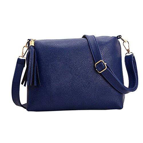 Hrph Beliebte Handtaschen Mini PU Messenger Bag Kleine Diagonal Frauen ein Schulter-Troddel-Beutel Dark Blue