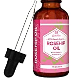 Leven Rose Rosehip Oil - 100% Organic Cold Pressed Natural & Pure Unrefined Rosehip Seed Oil Serum for Face, Hair, and Dry Skin As a Natural Botanical Antioxidant for Scars, Wrinkles, Body, Lips, Fine Lines and Acne - 1 Ounce (1 Oz) In Dark Amber Glass Bottle with Glass Dropper