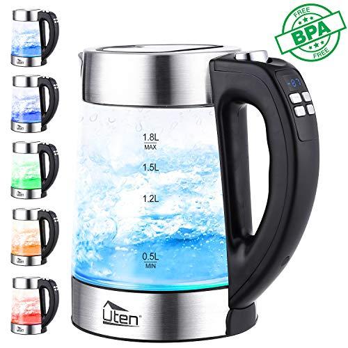 Elektrischer Wasserkocher Glas 1,8L Edelstahl Glaswasserkocher mit Temperatureinstellung, LED-Beleuchtung, Automatisches Schließen & Wasserstandsanzeige, Warmhaltefunktion, 2200 W -