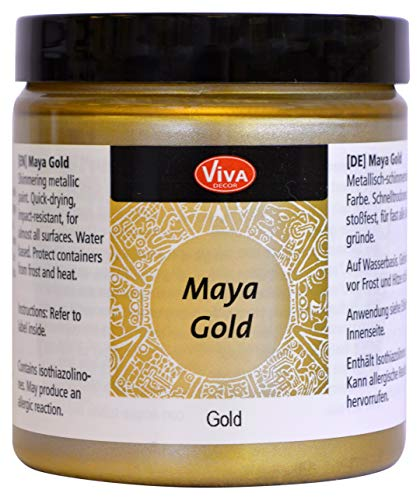 Viva Decor®️ Maya Gold (Gold, 250 ml) Acrylfarbe mit Metallic Effekt - Malfarbe - Acryl Farben für Holz, Pappe, Beton, Papier, Leinwand UVM. - Made in Germany