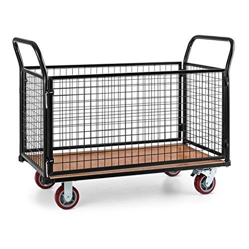 Waldbeck Loadster • Gitterwagen • Rollwagen • wasserfester Holzboden • Ladekapazität 500 kg • Stahlrohrrahmen • Hartgummibodenrollen • stabiles Drahtgittergeflecht • Lenkrollen 360° drehbar • schwarz -
