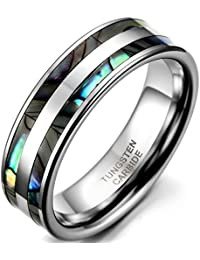 Tungsten Love 8mm High Polish Tungsten Carbide Ring Men's Aniversary/Engagement/Wedding Band Set With Double Abalone Inlay